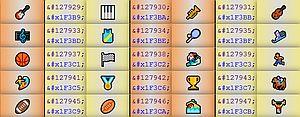 Ausschnitt aus der Unicode-Tabelle